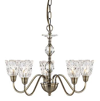 6255-5AB 5 Light Sculptured Glass Ceiling Light Antique Brass