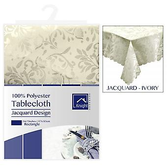 54x72 INCHES RECTANGLE POLYESTER TABLE COVER IVORY JACQUARD DESIGN
