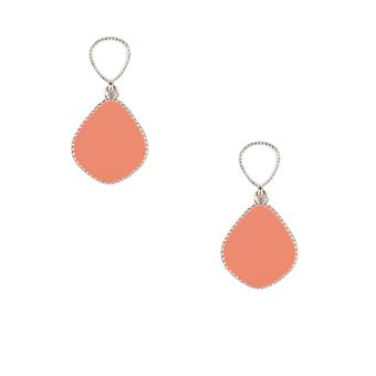 Lovemystyle Orange and White Tear Drop Earrings