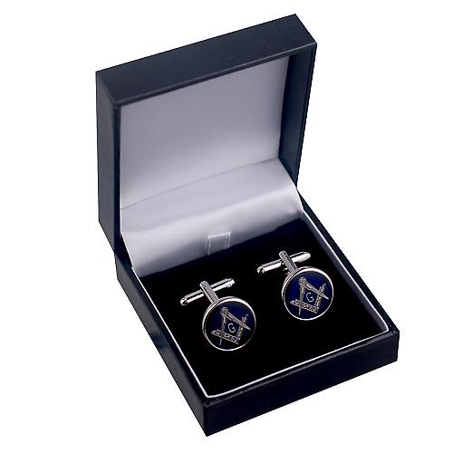 Rhodium Plated 17mm round cold cure enamel Masonic with 'G' swivel Cufflinks
