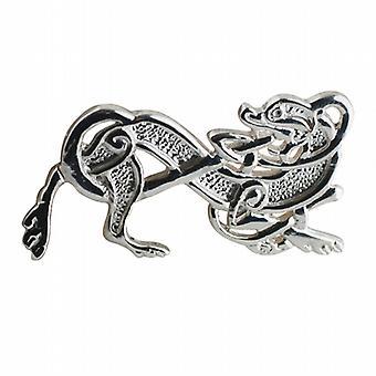 Silver 20x35mm Celtic Animal brooch