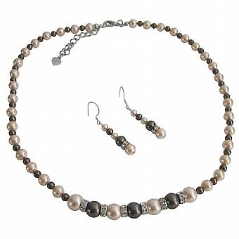 Mørk sjokolade fersken perler sølv Rondells Spacer Wedding smykker sett