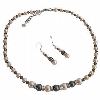 Dark Chocolate Peach Pearls Silver Rondells Spacer Wedding Jewelry Set