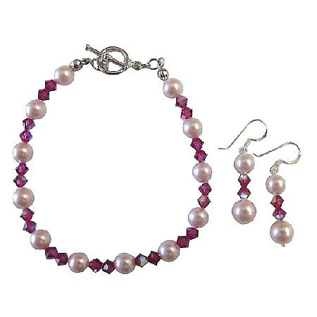 Rosaline Pearls Fushcia AB Coated Swarovski Crystals Bracelet Earrings