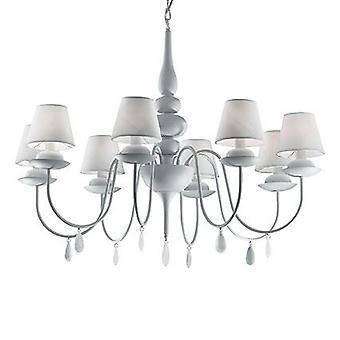 Ideel Lux - Blanche Matt hvid otte lys lysekrone med nuancer IDL035574