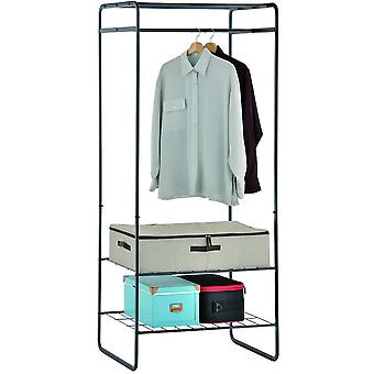 Open Wardrobe / Metal Clothes Rail With 3 Shelves - Black