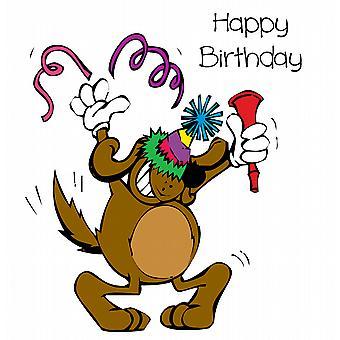 Decorative Writing Happy Birthday Partying Dog Printed Text Mug