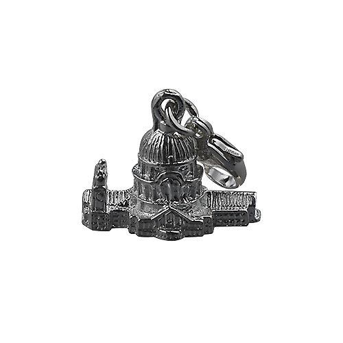 Silver 11x17mm hollow St. Paul's Cathedral Charm on a lobster trigger
