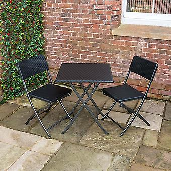 Poly Rattan Folding Bistro Table and 2 Chairs Set Garden Patio Camping Outdoor