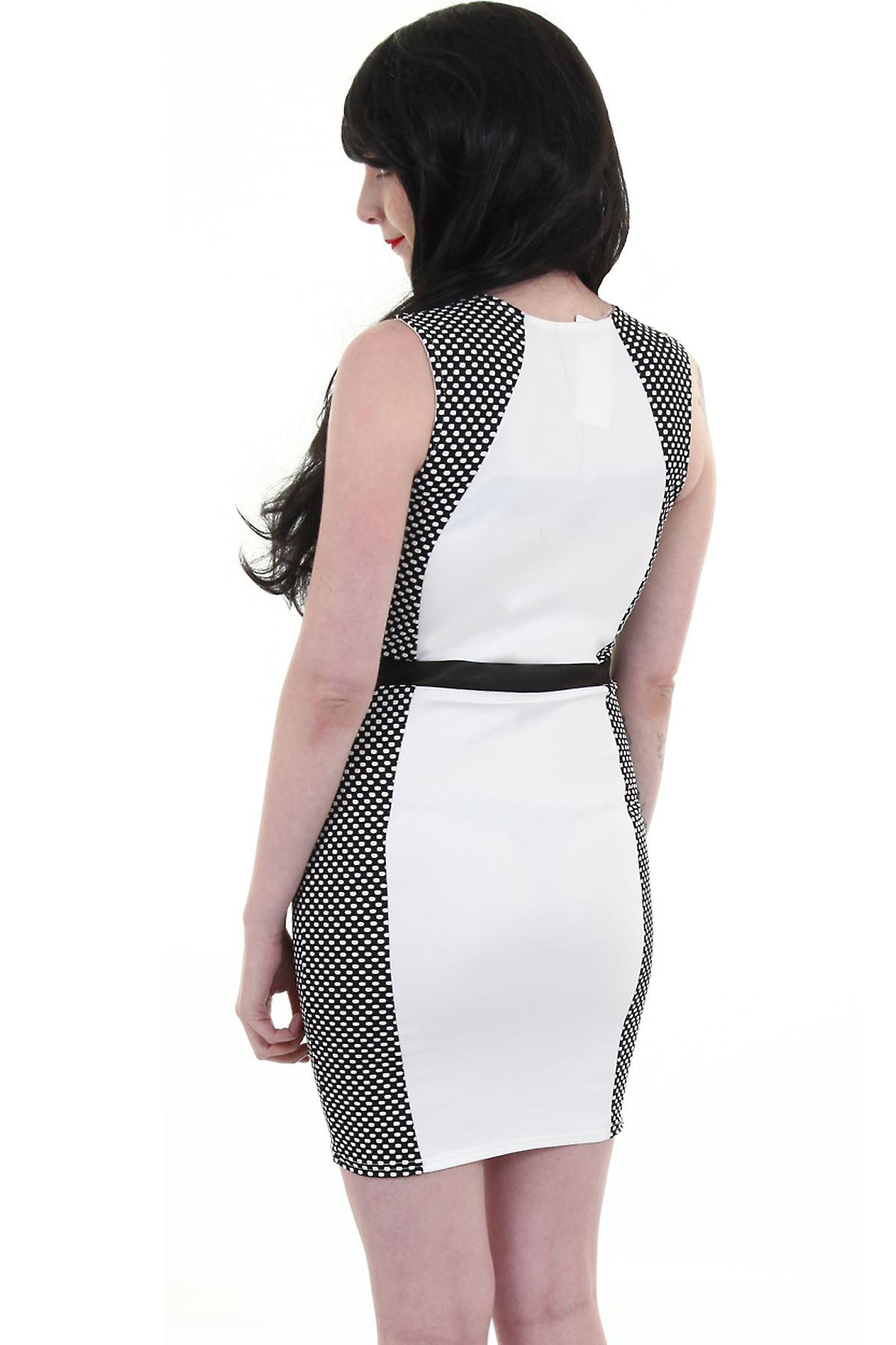 Ladies Sleeveless PVC Cross Polka Dot Contrast Women's Bodycon Dress