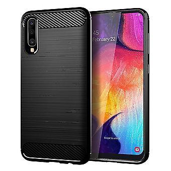 Samsung Galaxy A50 TPU geval Carbon Fiber Optics geborsteld bescherming geval zwart