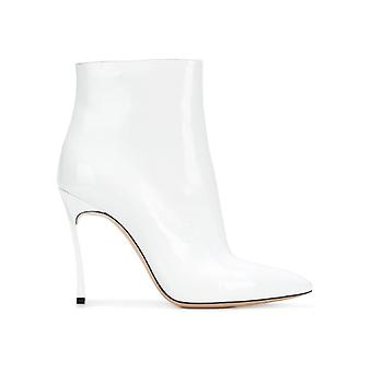 Casadei White Patent Leather Ankle Boots