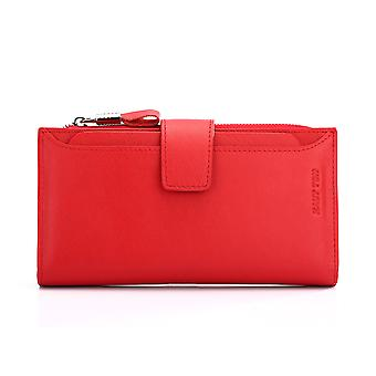 Hautton Leather Pink Clutch Wallet With Pull Out Sleeve - Red