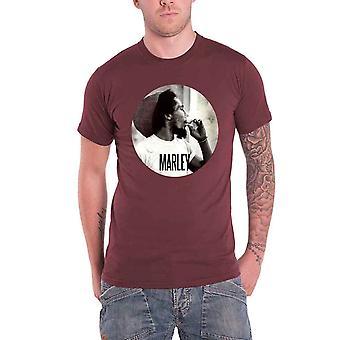 Bob Marley Mens T Shirt Maroon Smokin Joint Circle logo Official