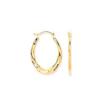 Eternity 9ct Ribbed Oval Creole Hoop Earrings