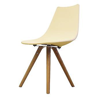 Chaise de salle à manger en plastique iconique de fusion vivant avec des jambes en bois clair