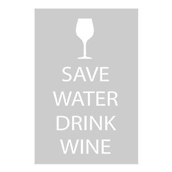 Save Water Drink Wine Grey Tea Towel