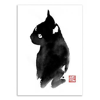 Art-Poster - Black cat - Pechane Sumie 50 x 70 cm