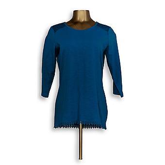 Mujeres's Top Scoop-Neck Hi-Low Hem Azul A309310