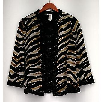 Joan Rivers Blazer Wild Safari Reversible Open Front 3/4 Sleeves Black A234263
