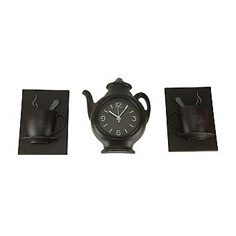 Coffee Pot Clock and Morning Coffee Cups Wall Decor 3 Piece Set
