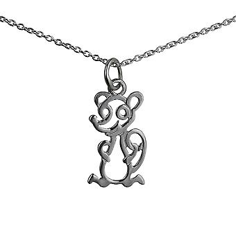 Silver 18x11mm pierced Mouse Pendant with a rolo Chain 14 inches Only Suitable for Children