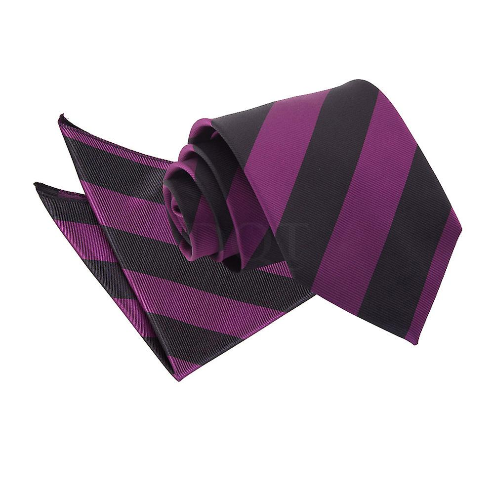 Purple & Black Striped Tie and Pocket Square Set