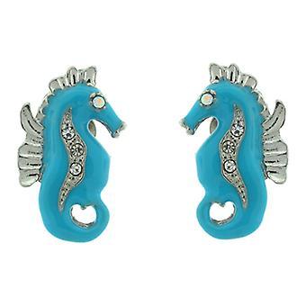Clip On Earrings Store Blue Enamel Sea Horse Clip On Earrings