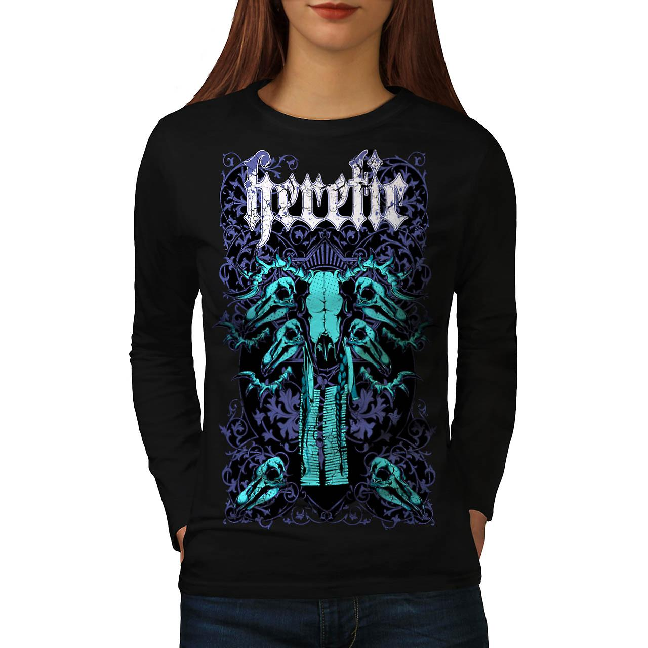 Eretico Monster inferno teschio gigante donne manica lunga t-shirt nero | Wellcoda