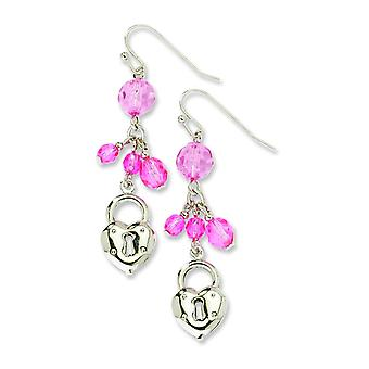 Silver-tone Heart and Lock with Pink Crystals Earrings
