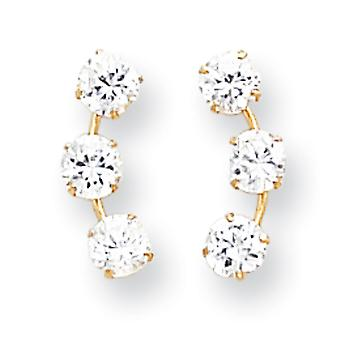 14k Yellow Gold Polished Prong set Curved 3-Stone Cubic Zirconia Post Earrings - Measures 15x6mm