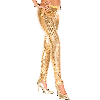 Leggings With Sequin-Gold