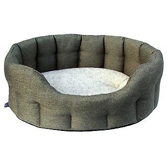 Premium Oval Drop Front Softee Bed Basketweave Tweed Size 4 61x51x22cm