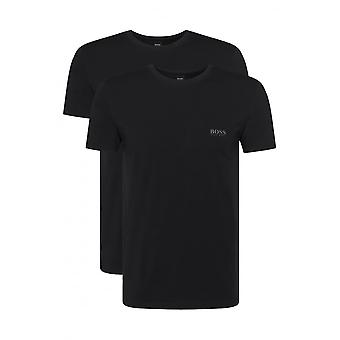 Hugo Boss 2-Pack Regular-Fit Crew-Neck T-Shirts In Stretch Cotton, Black