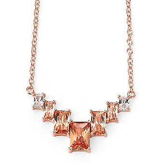 925 Silver Rose Gold Plated And Zirconium Necklace Trend
