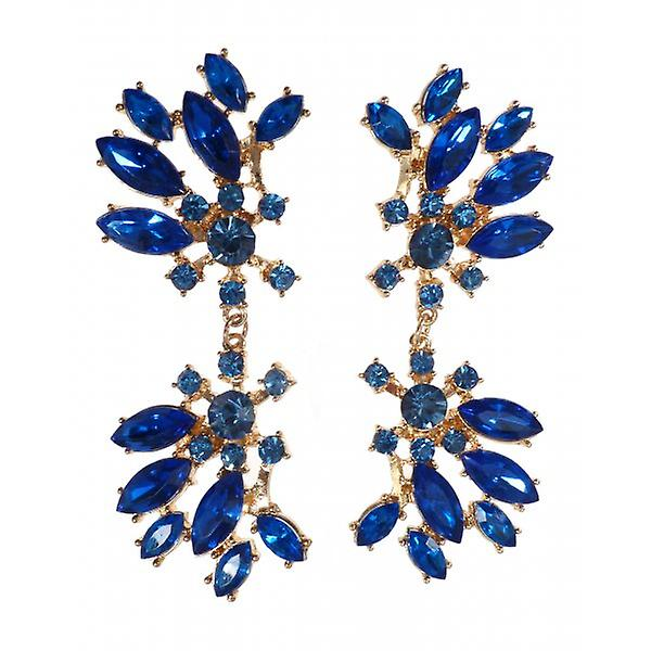 W.A.T Gold Style Royal Blue Crystal Statement Earrings