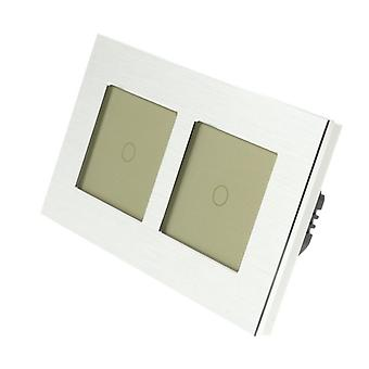 I LumoS Silver Brushed Aluminium Double Frame 2 Gang 2 Way Remote & Dimmer Touch LED Light Switch Gold Insert