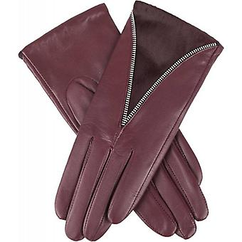 Dents Layla Curved Ponyskin Insert Wool Lined Hairsheep Leather Gloves - Claret Red