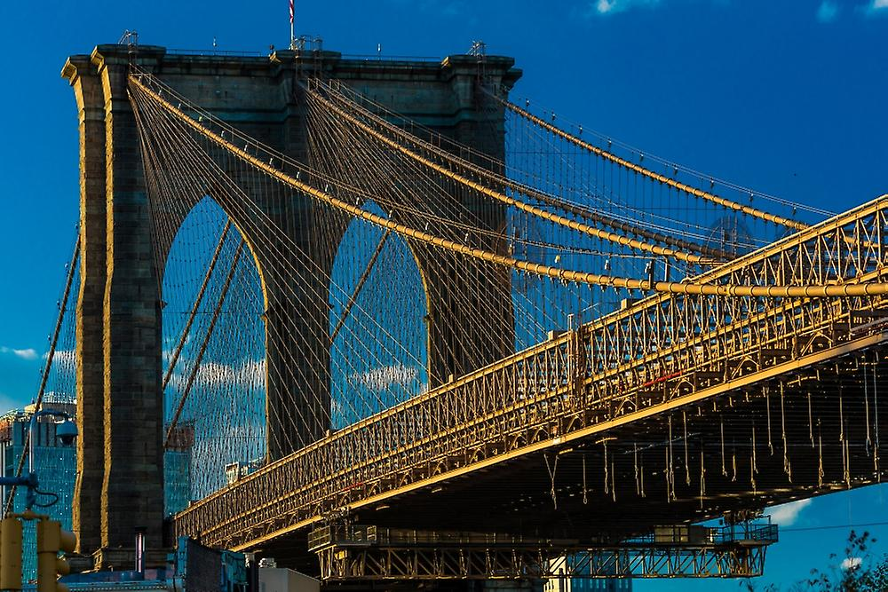 Brooklyn Bridge at sunset NY NY - in noir and blanc Poster Print by Panoramic Images (36 x 24)