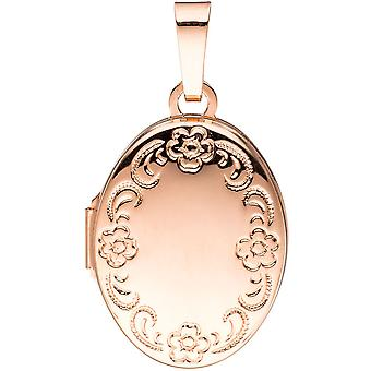Medallion oval flowers pattern 925 Silver rose gold plated to open 2 photos