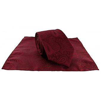 Michelsons of London Tonal Polyester Paisley Pocket Square and Tie Set - Dark Red