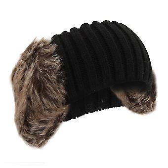Womens/Ladies Knitted Faux Fur Winter Headband With Earmuffs