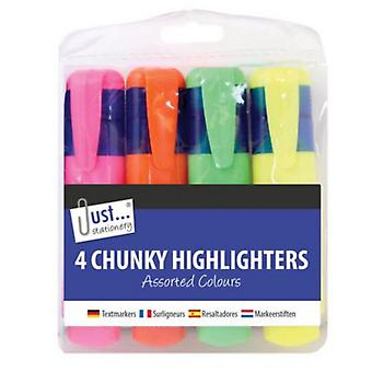 Just Stationery 4 Chunky Highlighters