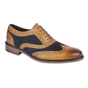 Roamers Mens Leather And Suede 5 Eye Wing Cap Oxford Brogue Shoe