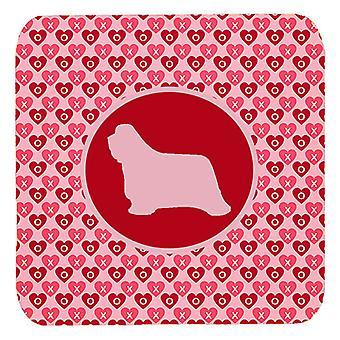 Carolines Treasures  SDK1112-A-FC Set of 4 Bearded Collie Valentine Hearts Foam