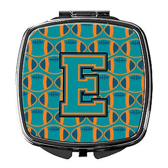 Letter E Football Aqua, Orange and Marine Blue Compact Mirror