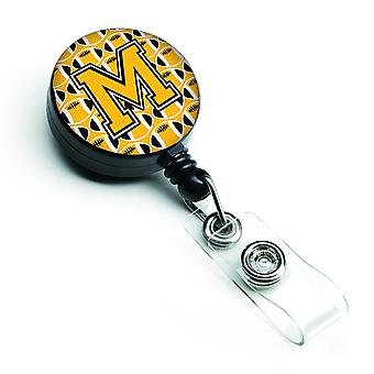 Letter M Football Black, Old Gold and White Retractable Badge Reel