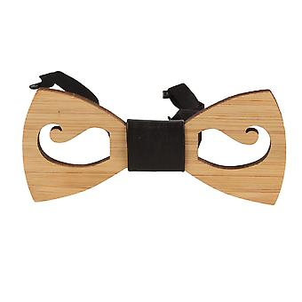 Snobbop fly Woody mustache bamboo wood bow tie hook closure