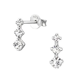 Bar - 925 Sterling Silver Crystal Ear Studs