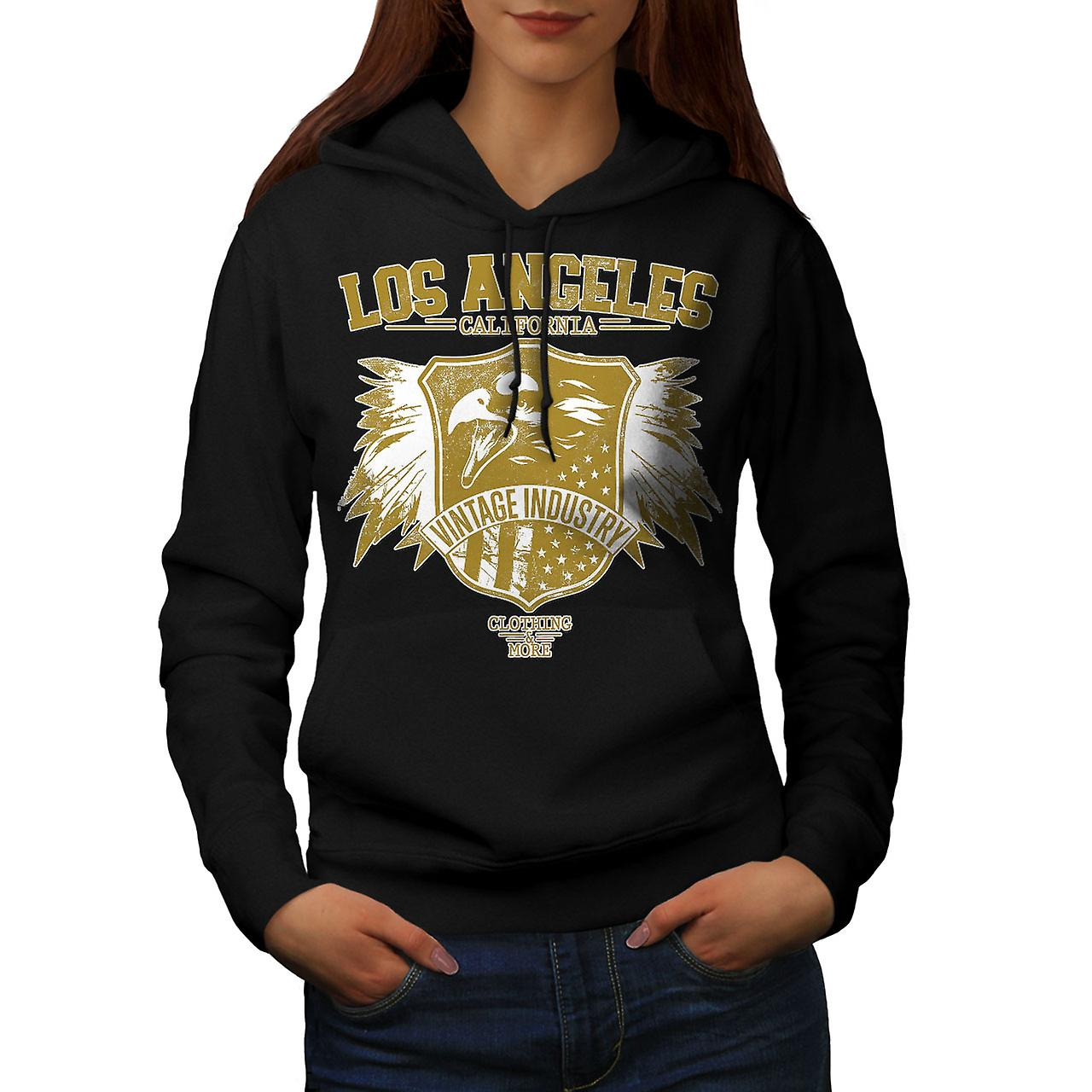 LA Eagle USA California Women Black Hoodie | Wellcoda
